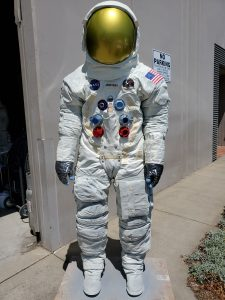 A replica suit on display during the Smithsonian's Apollo in the Park program