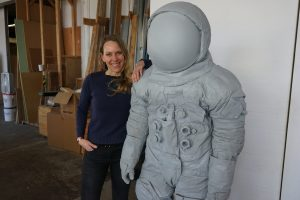 Libby Carruth, lead sculptor, with the master model.