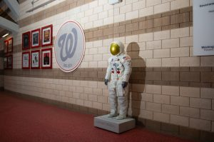 A spacesuit replica made from our master model on display at Nationals Park.
